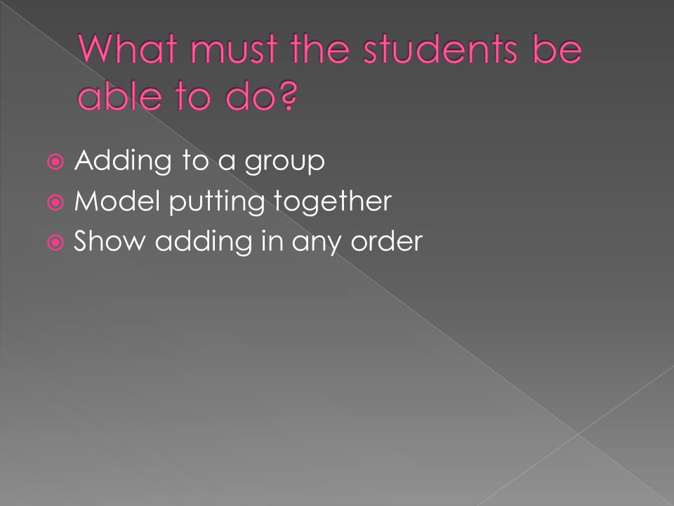 What must the students be able to do