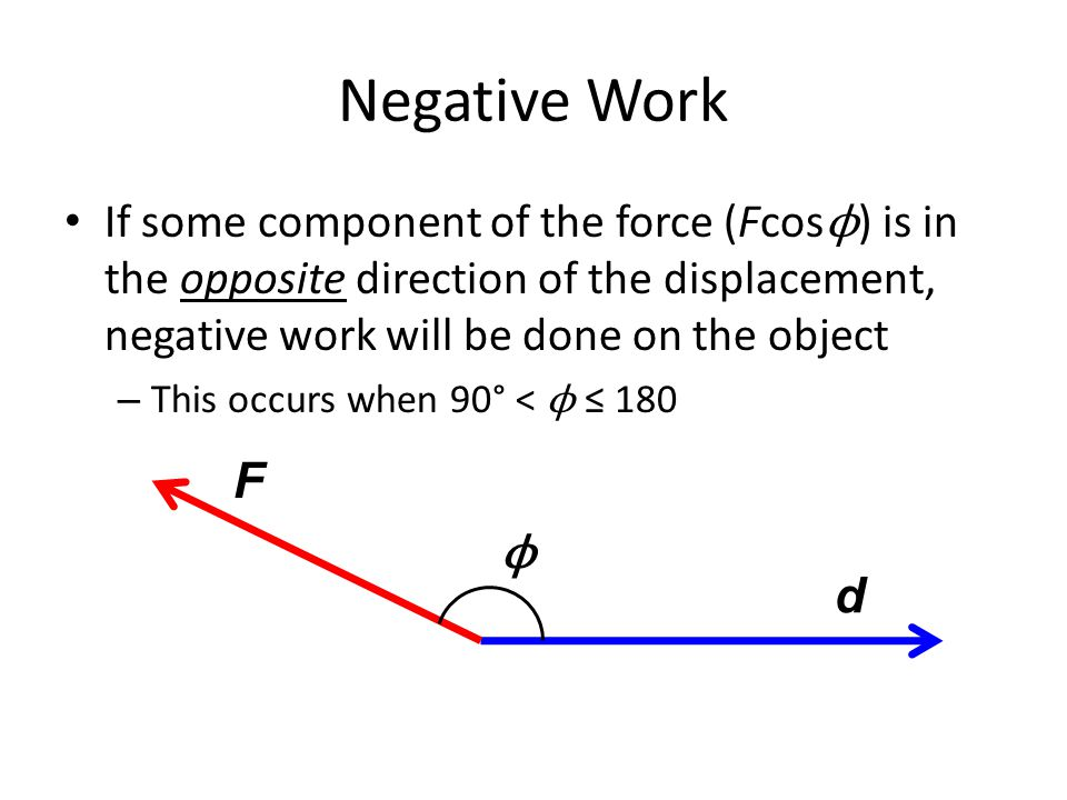 Negative Work If some component of the force (Fcosϕ) is in the opposite direction of the displacement, negative work will be done on the object.