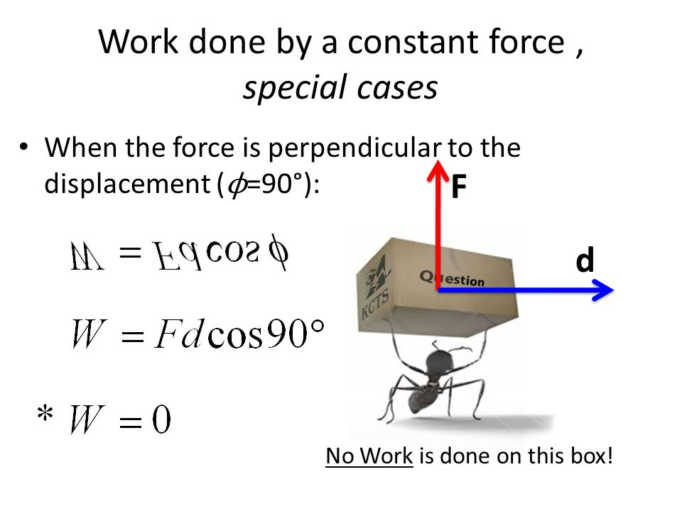 Work done by a constant force , special cases