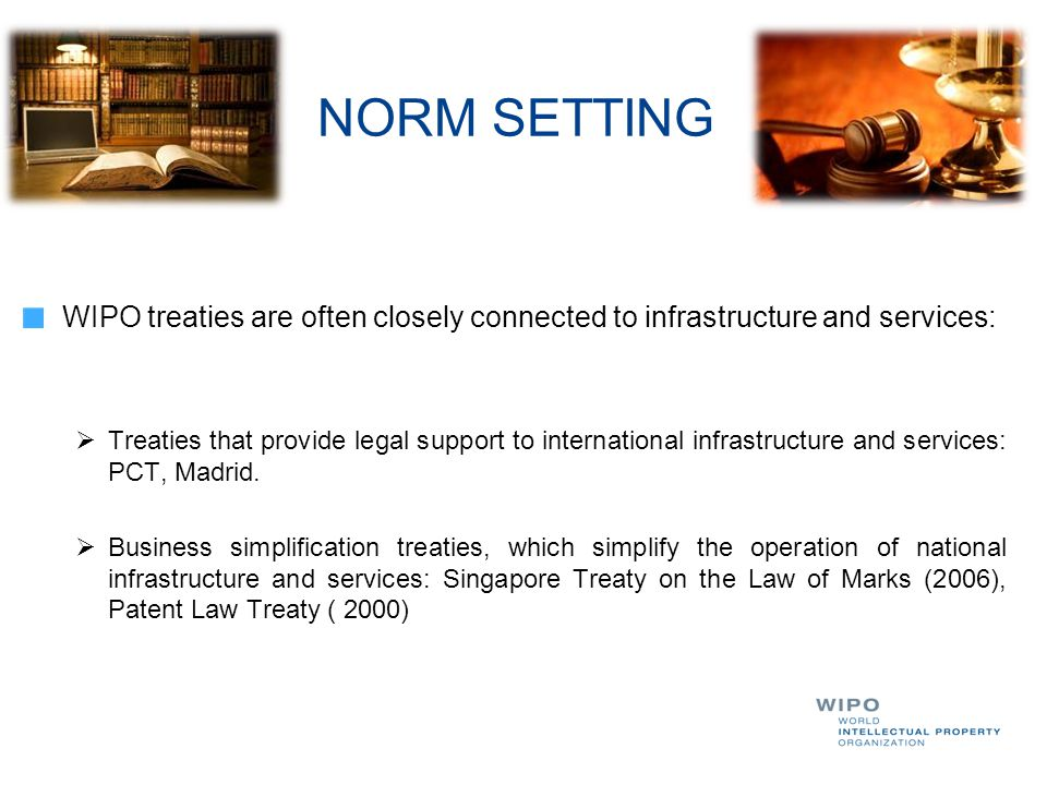 NORM SETTING WIPO treaties are often closely connected to infrastructure and services: