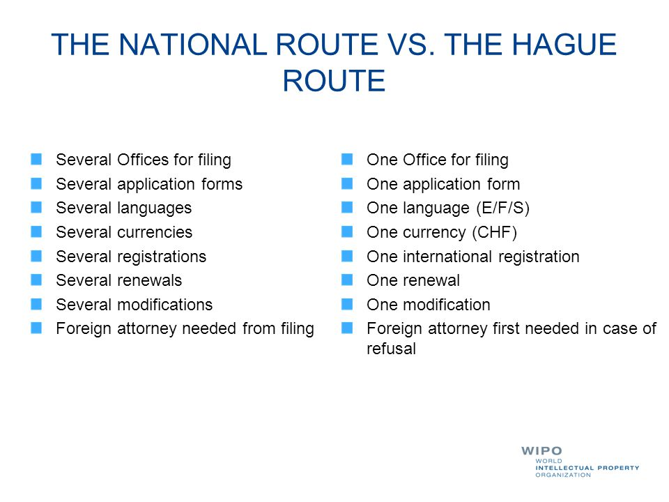 THE NATIONAL ROUTE VS. THE HAGUE ROUTE