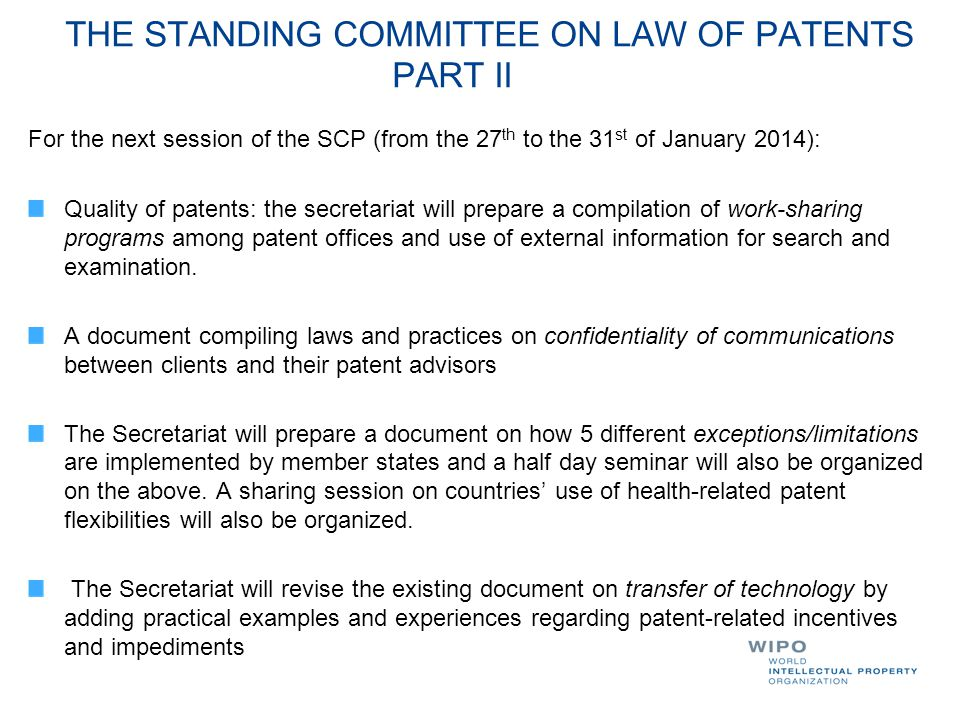 THE STANDING COMMITTEE ON LAW OF PATENTS PART II
