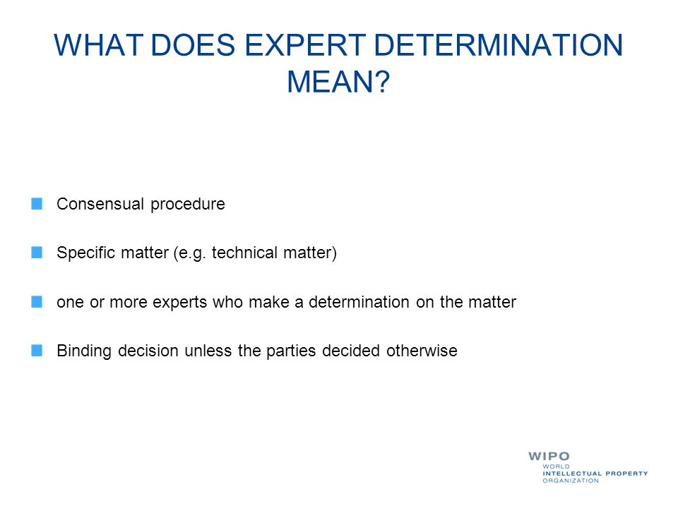 WHAT DOES EXPERT DETERMINATION MEAN