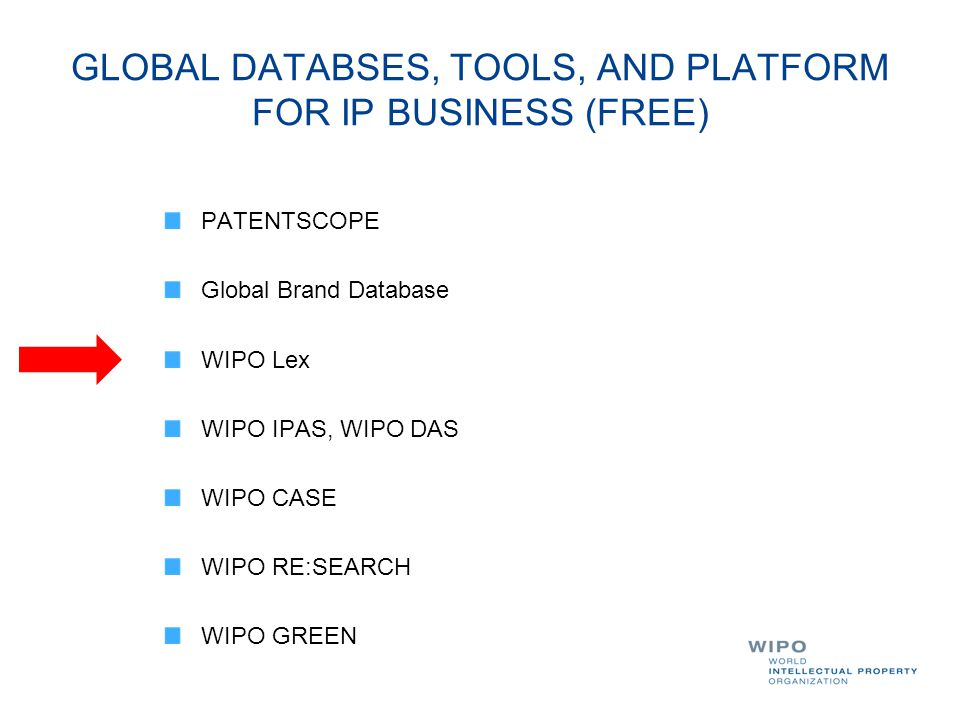 GLOBAL DATABSES, TOOLS, AND PLATFORM FOR IP BUSINESS (FREE)