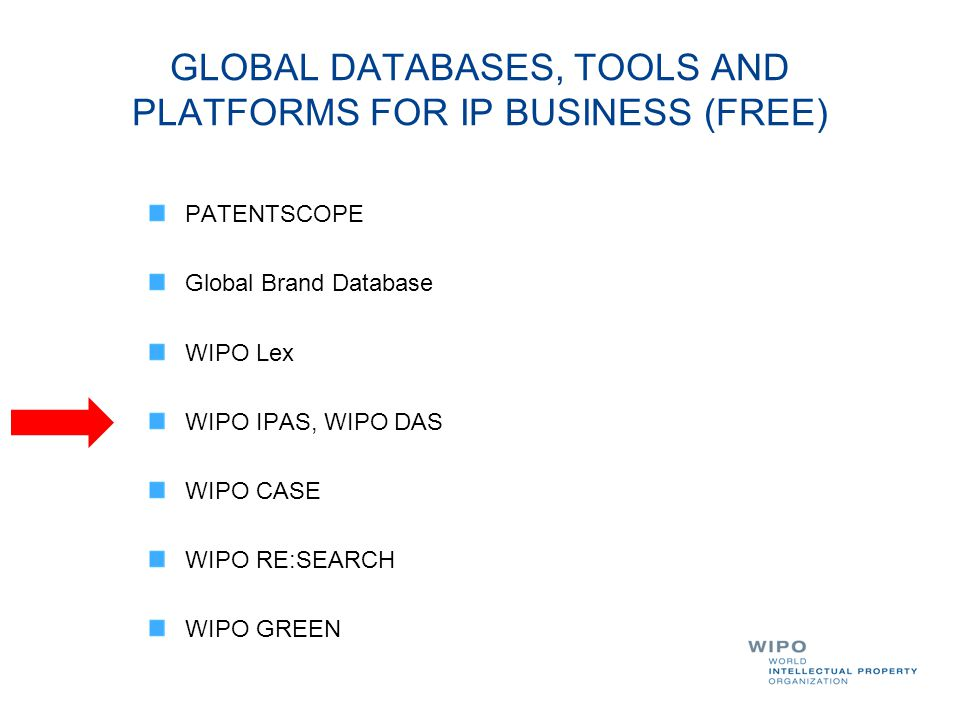 GLOBAL DATABASES, TOOLS AND PLATFORMS FOR IP BUSINESS (FREE)