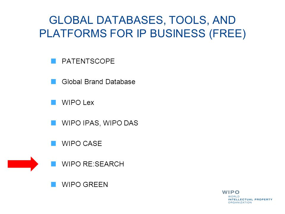 GLOBAL DATABASES, TOOLS, AND PLATFORMS FOR IP BUSINESS (FREE)