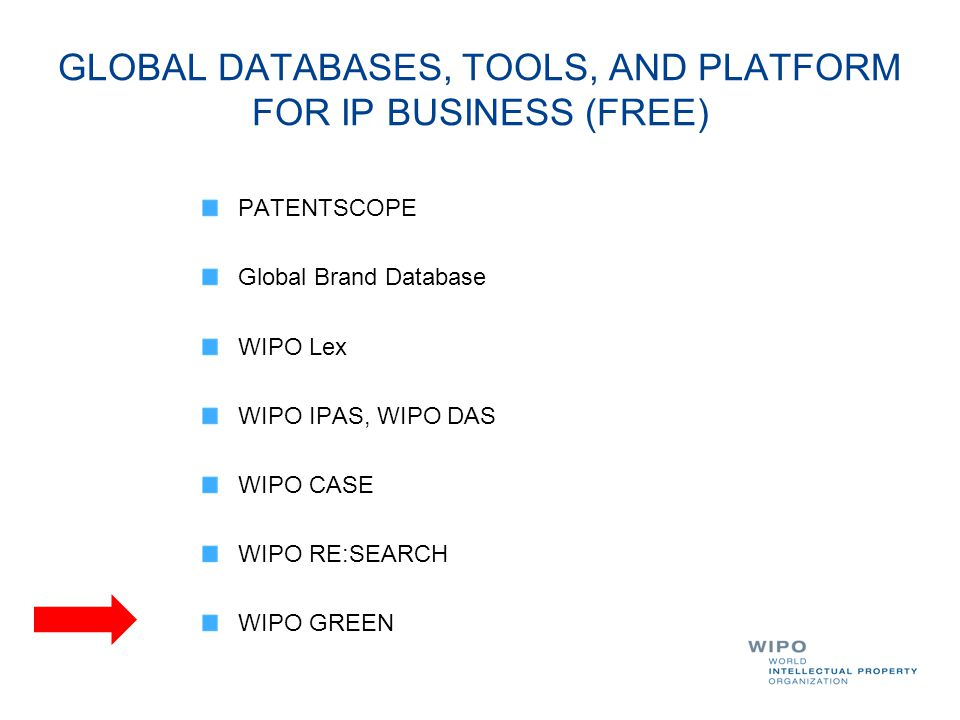 GLOBAL DATABASES, TOOLS, AND PLATFORM FOR IP BUSINESS (FREE)