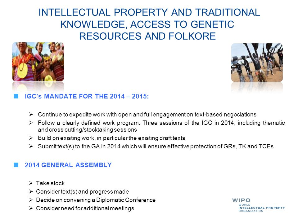 INTELLECTUAL PROPERTY AND TRADITIONAL. KNOWLEDGE, ACCESS TO GENETIC