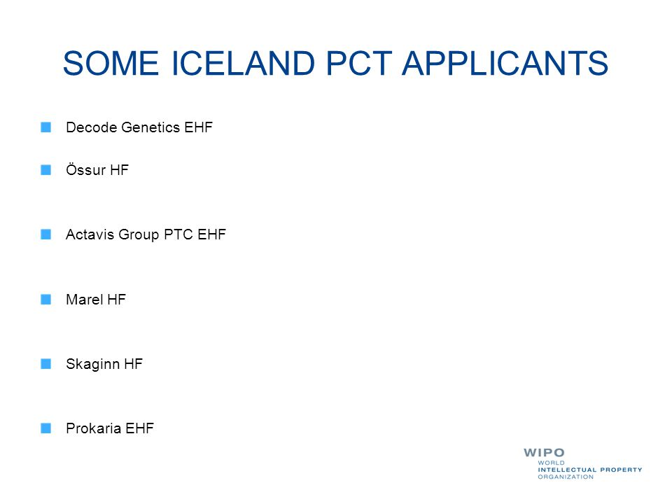 SOME ICELAND PCT APPLICANTS