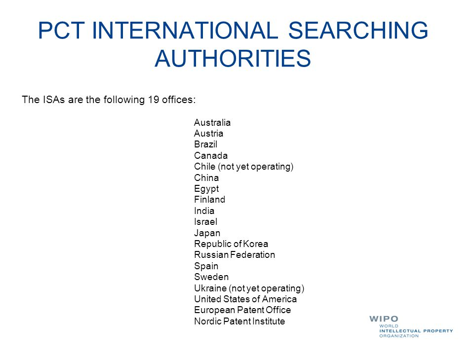 PCT INTERNATIONAL SEARCHING AUTHORITIES