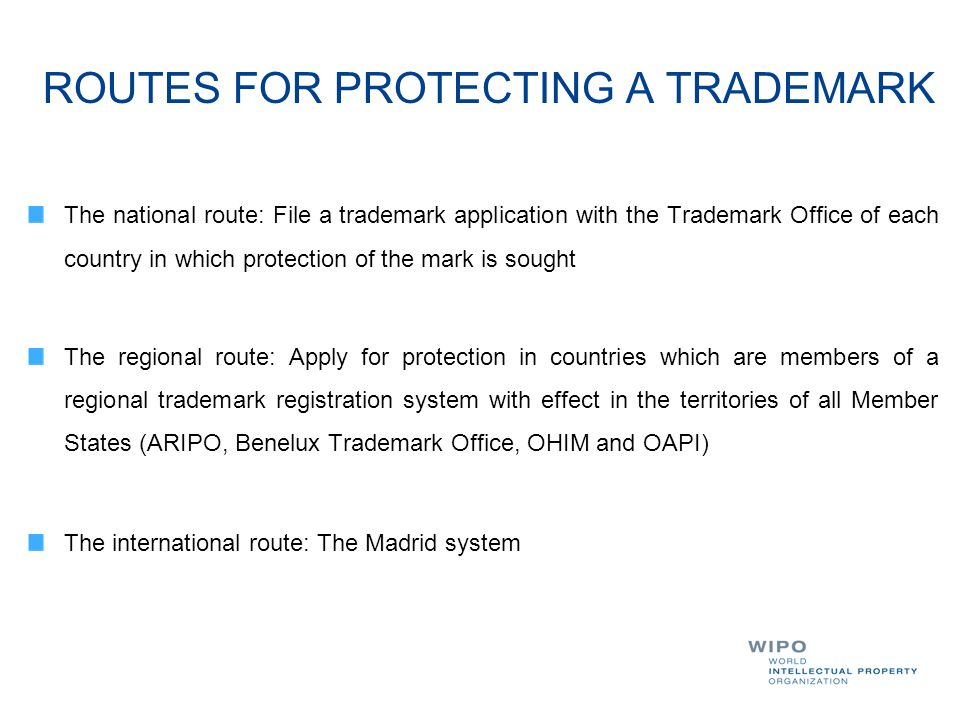 ROUTES FOR PROTECTING A TRADEMARK