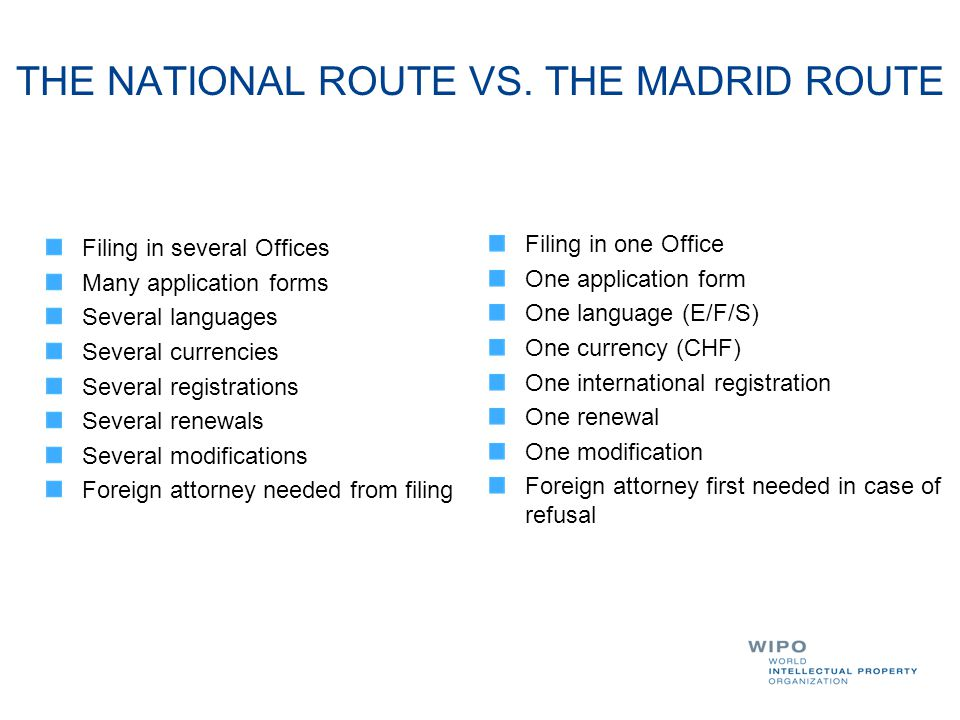 THE NATIONAL ROUTE VS. THE MADRID ROUTE