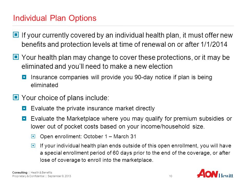 Individual Plan Options