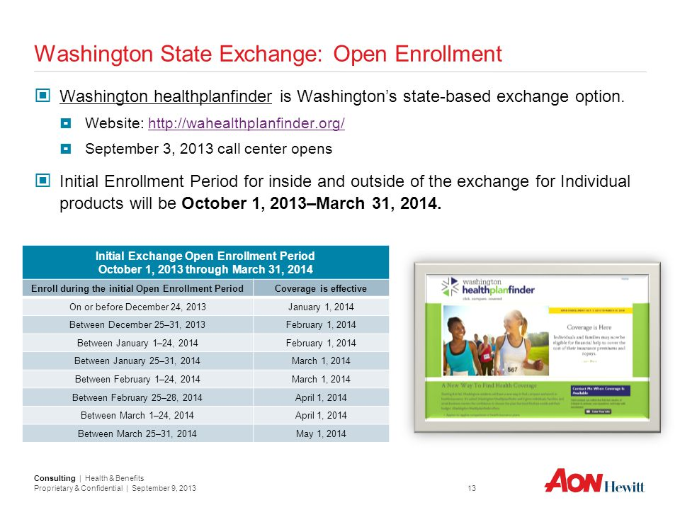 Washington State Exchange: Open Enrollment