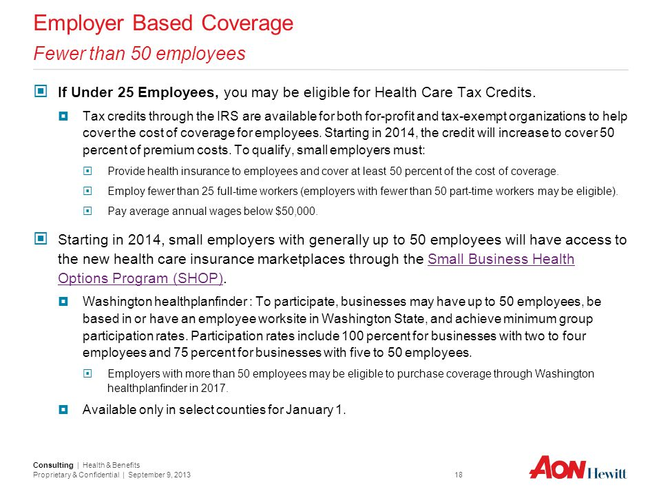 Employer Based Coverage Fewer than 50 employees