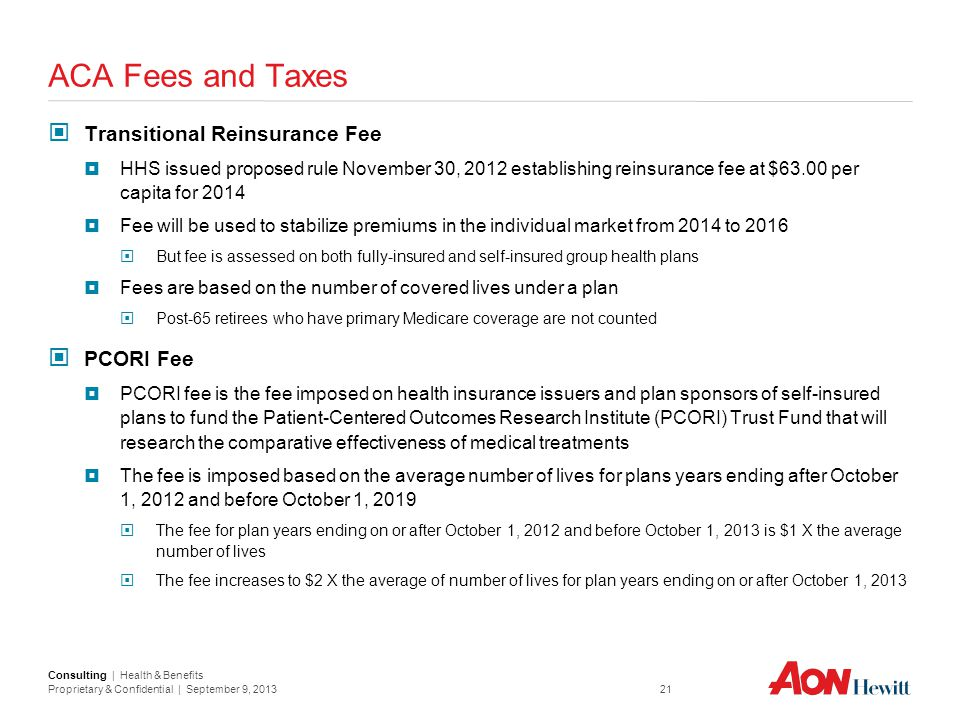 ACA Fees and Taxes Transitional Reinsurance Fee PCORI Fee