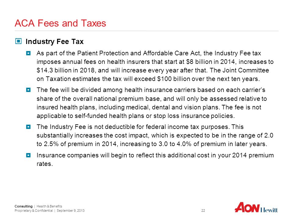 ACA Fees and Taxes Industry Fee Tax