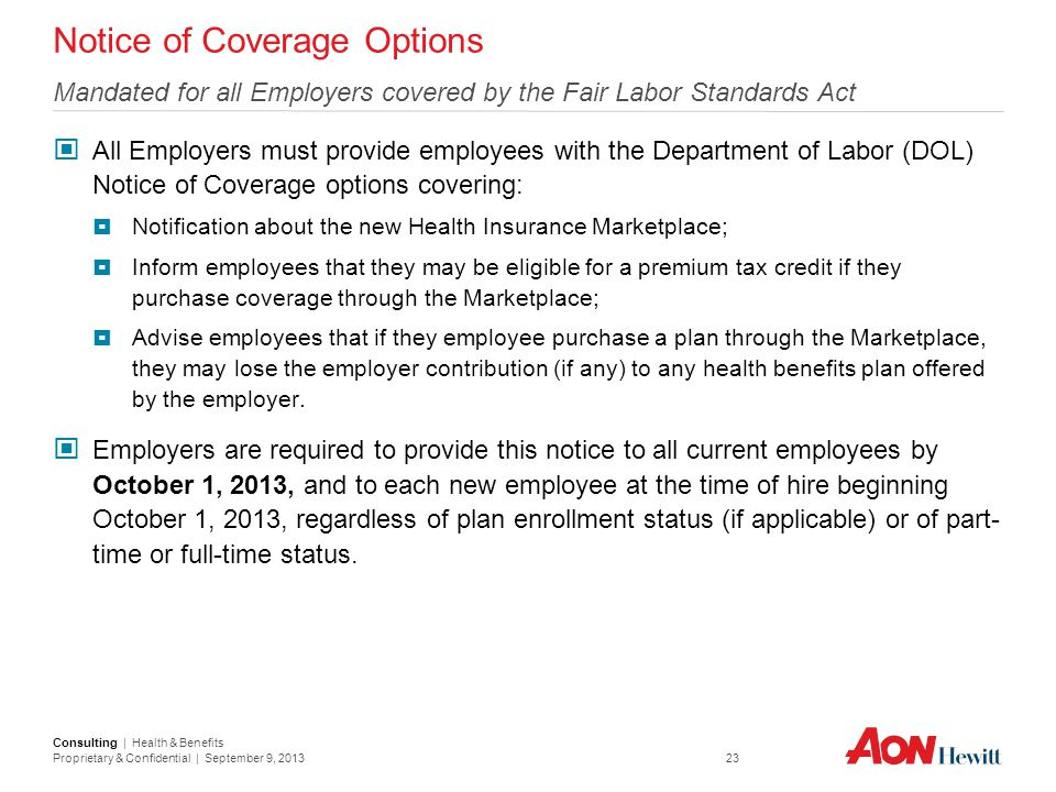 Notice of Coverage Options