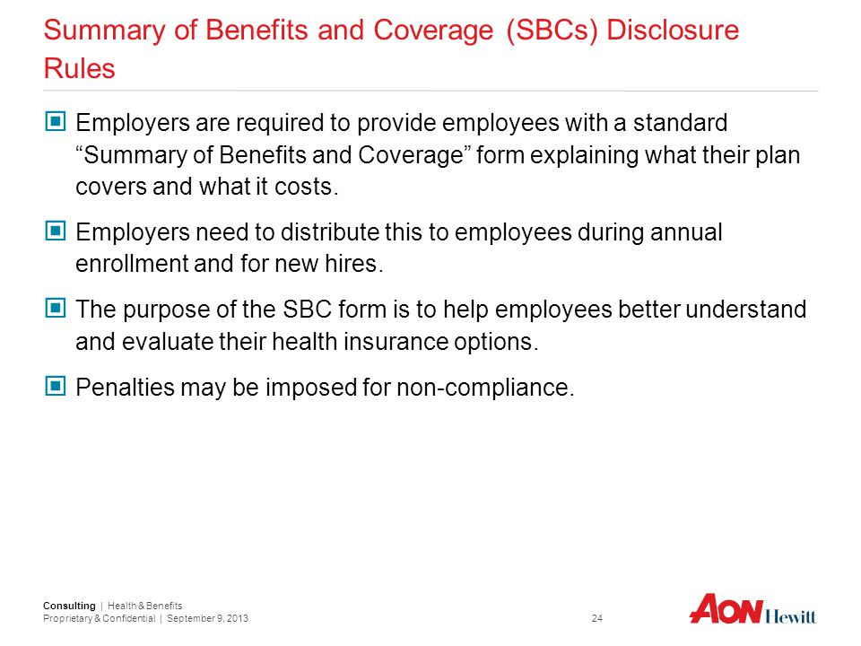 Summary of Benefits and Coverage (SBCs) Disclosure Rules