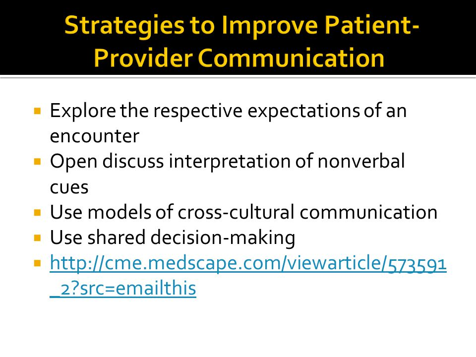 Strategies to Improve Patient-Provider Communication