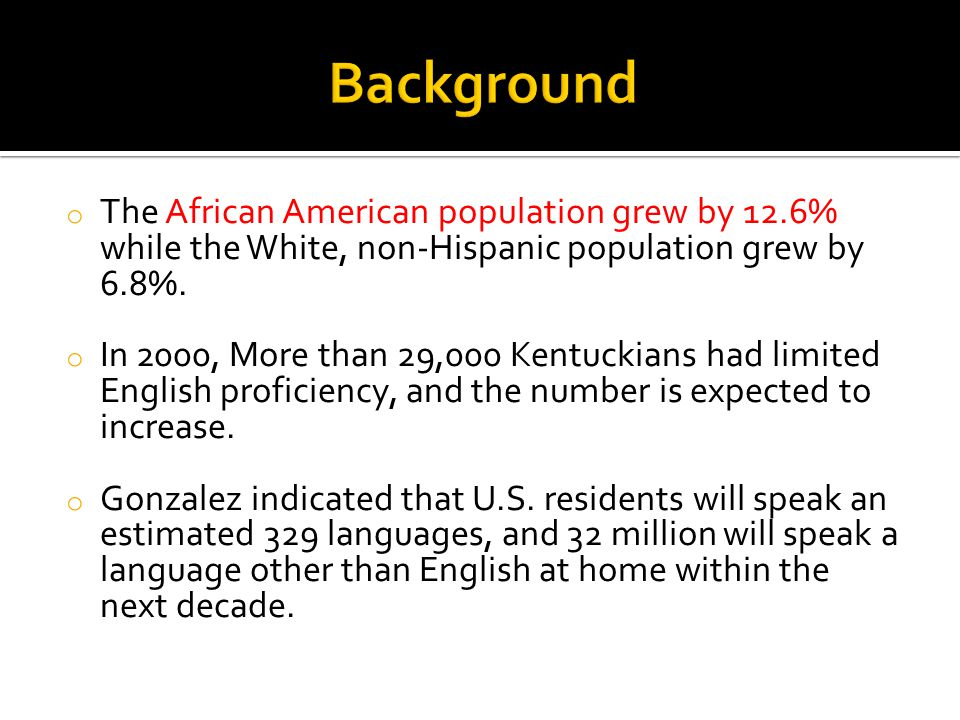 Background The African American population grew by 12.6% while the White, non-Hispanic population grew by 6.8%.