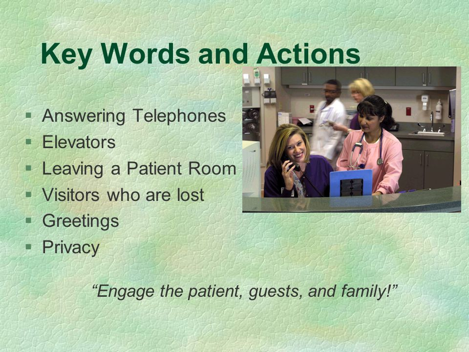 Key Words and Actions Answering Telephones Elevators