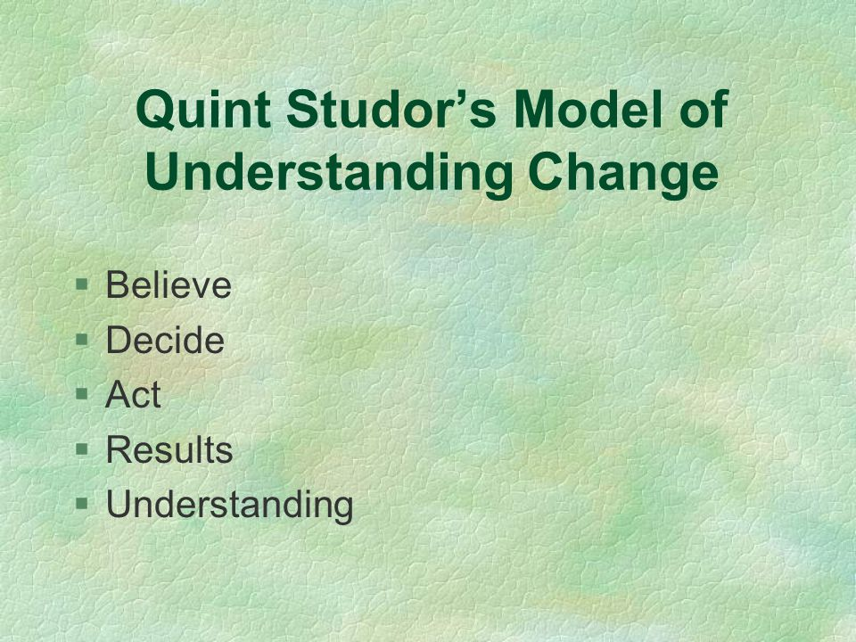 Quint Studor's Model of Understanding Change