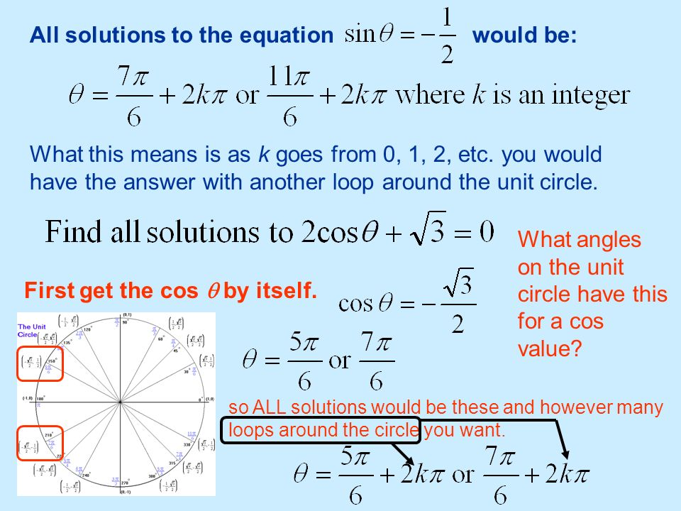 All solutions to the equation would be: