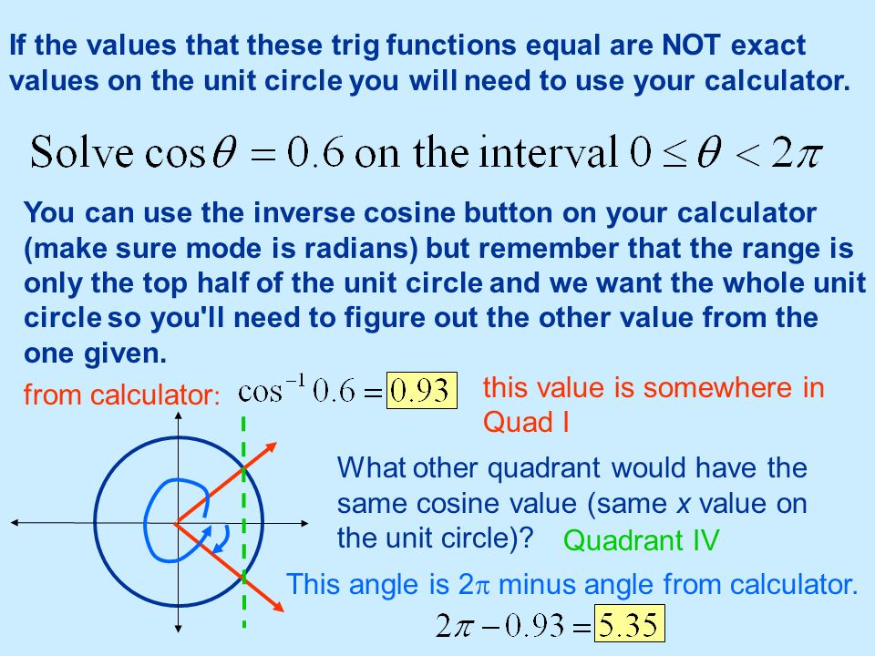 If the values that these trig functions equal are NOT exact values on the unit circle you will need to use your calculator.