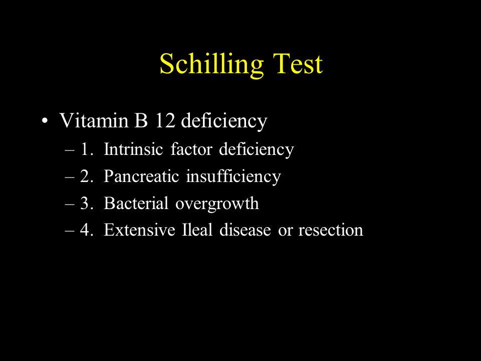 Schilling Test Vitamin B 12 deficiency 1. Intrinsic factor deficiency