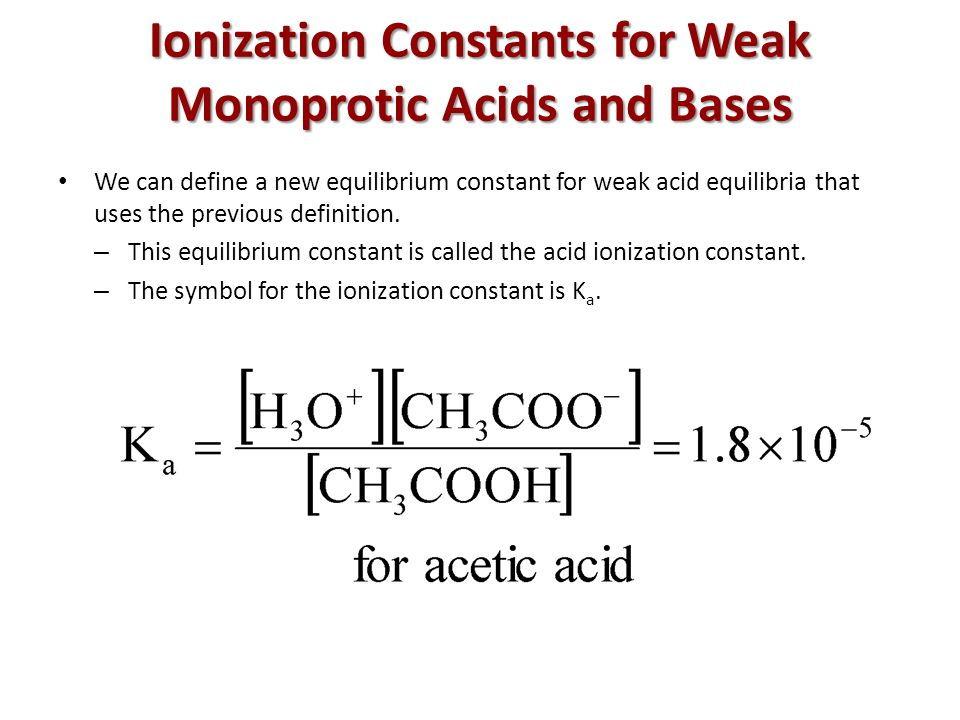 Ionization Constants for Weak Monoprotic Acids and Bases