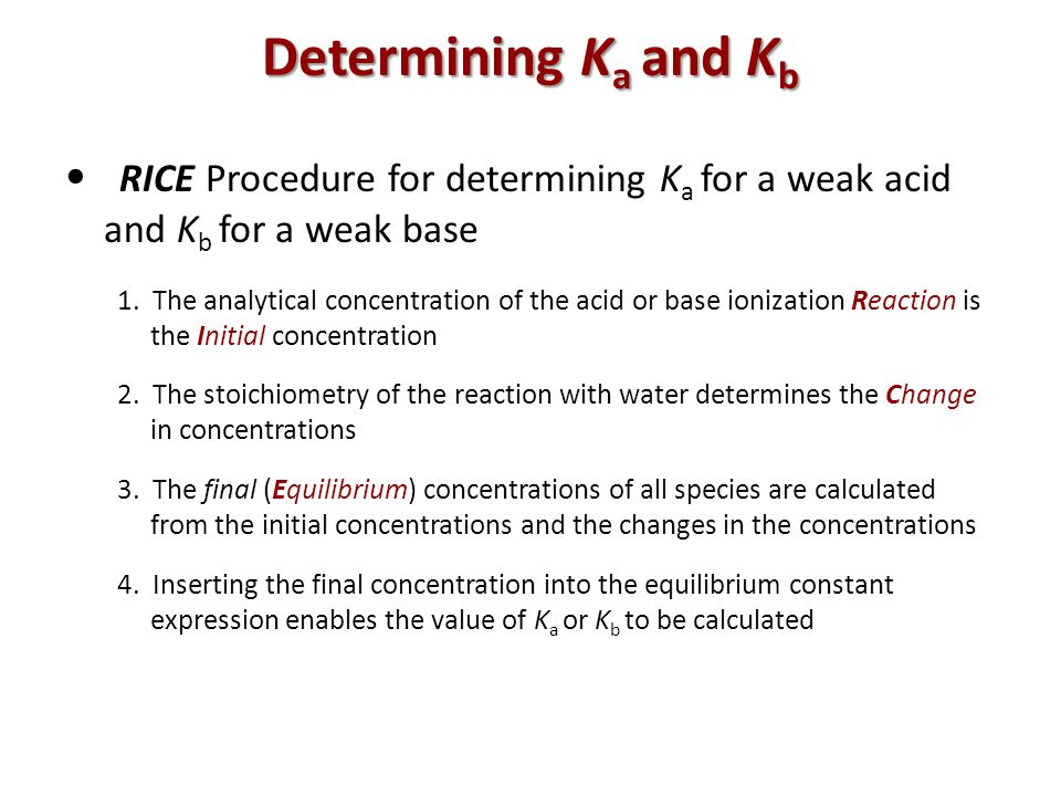 Determining Ka and Kb • RICE Procedure for determining Ka for a weak acid and Kb for a weak base.