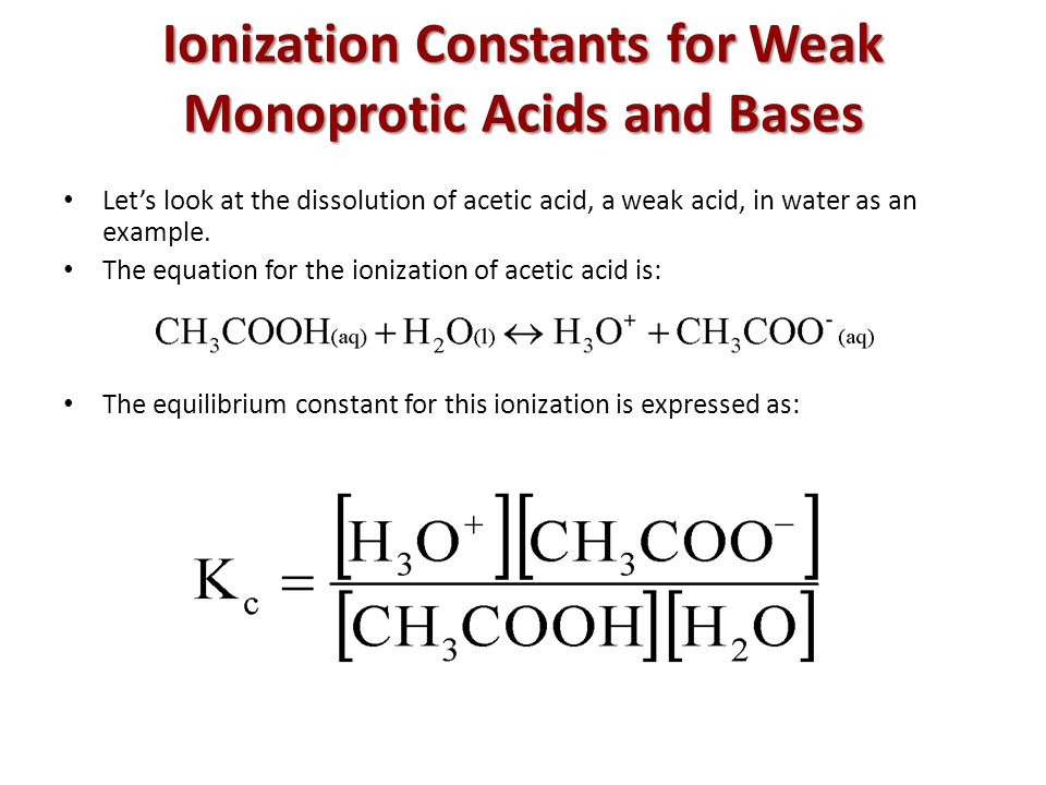 dissociation constants weak monoprotic acids were determin Answer to hox is a monoprotic weak acid with an weak acid with acid dissociation constants of 366 log because hox and h2red are weak acids.