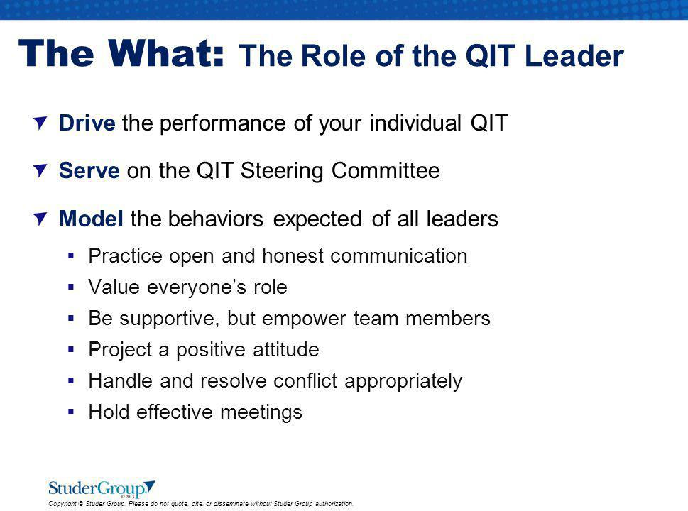 The What: The Role of the QIT Leader