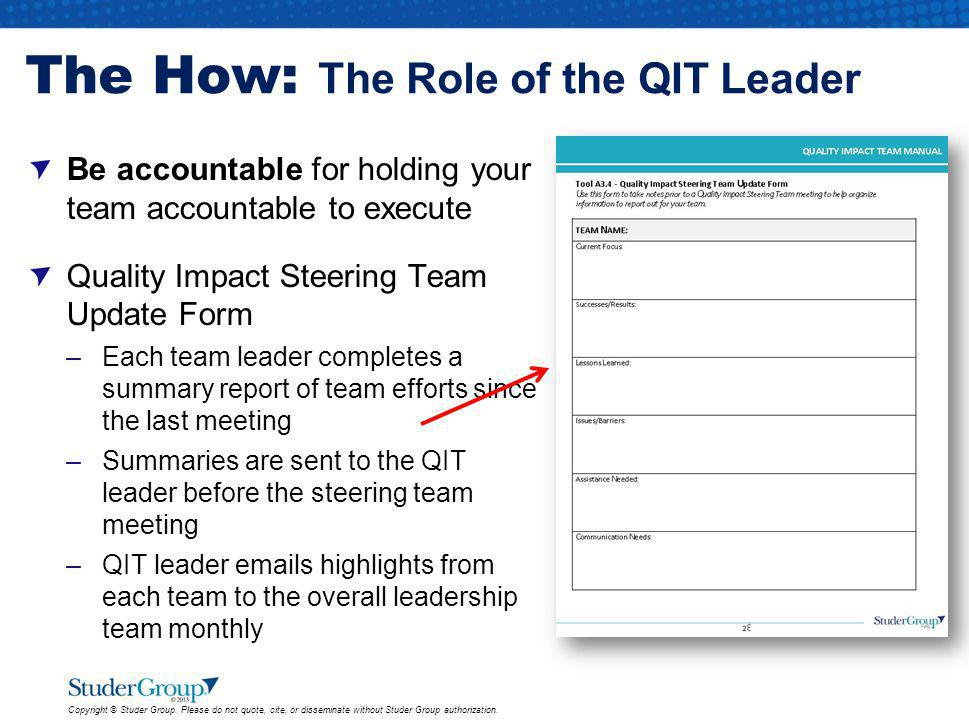 The How: The Role of the QIT Leader