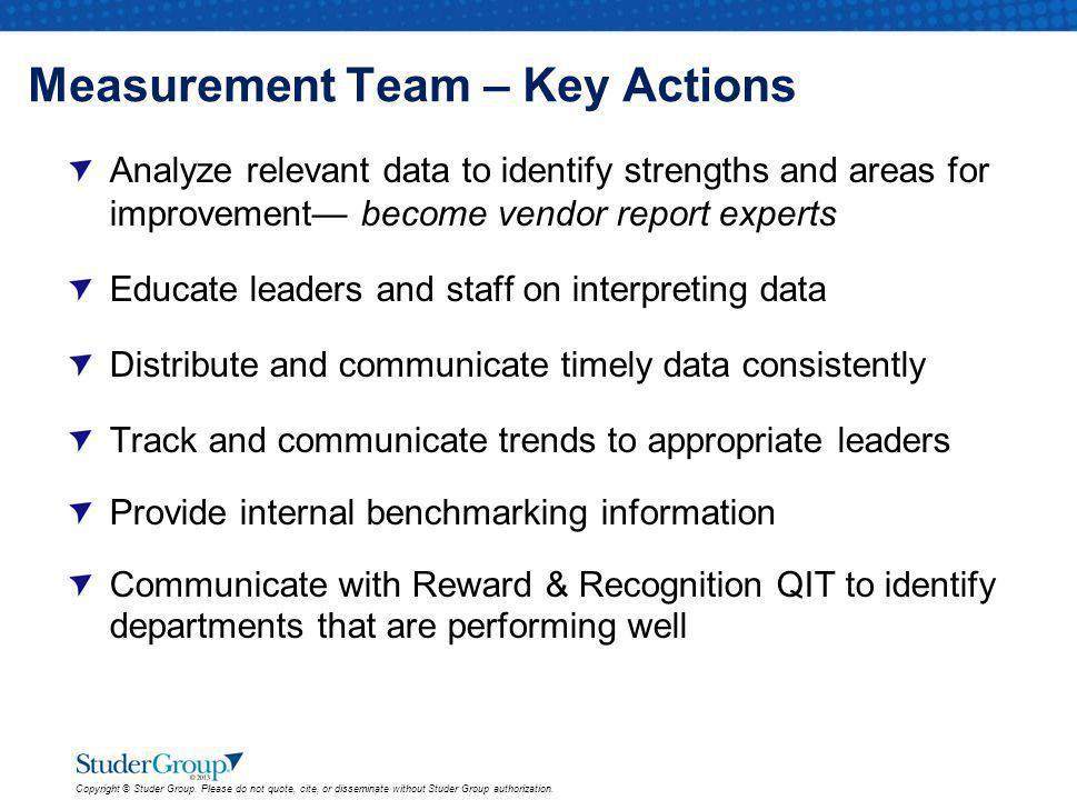 Measurement Team – Key Actions