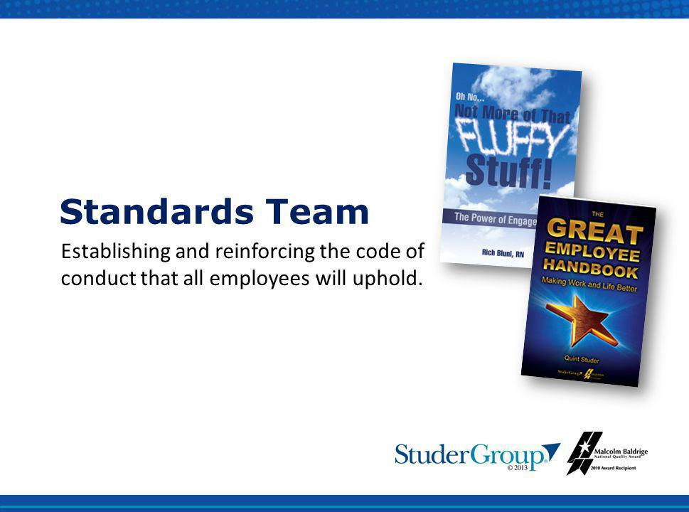 Standards Team Establishing and reinforcing the code of conduct that all employees will uphold.