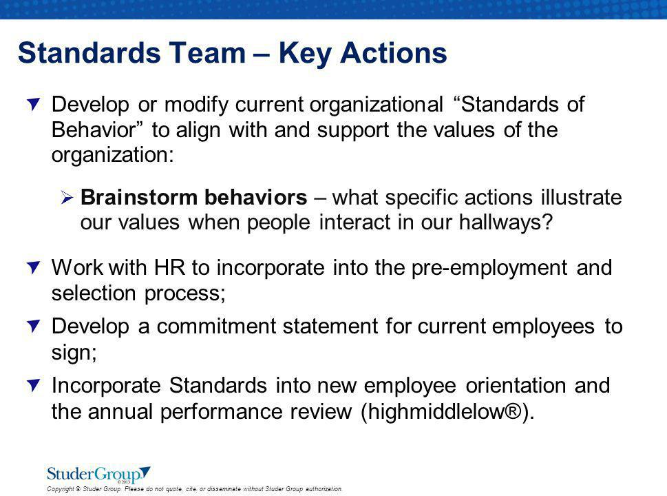 Standards Team – Key Actions