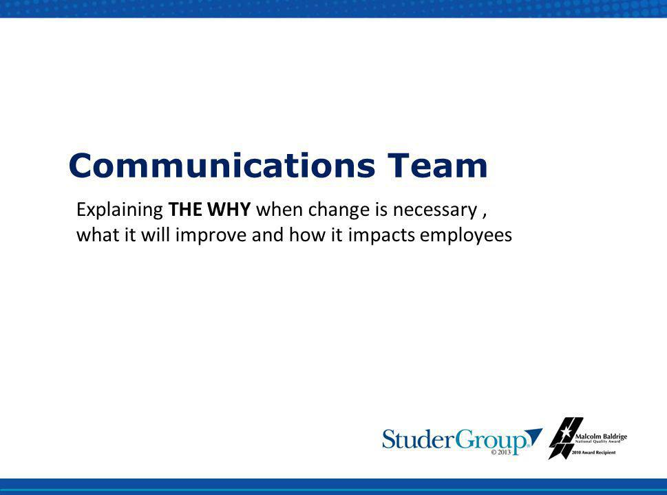 Communications Team Explaining THE WHY when change is necessary , what it will improve and how it impacts employees.