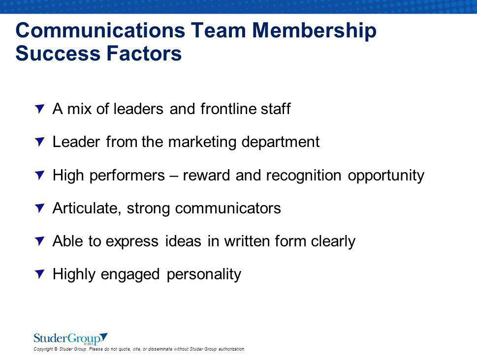 Communications Team Membership Success Factors