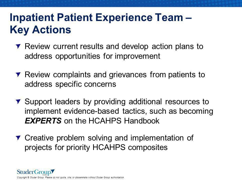 Inpatient Patient Experience Team – Key Actions