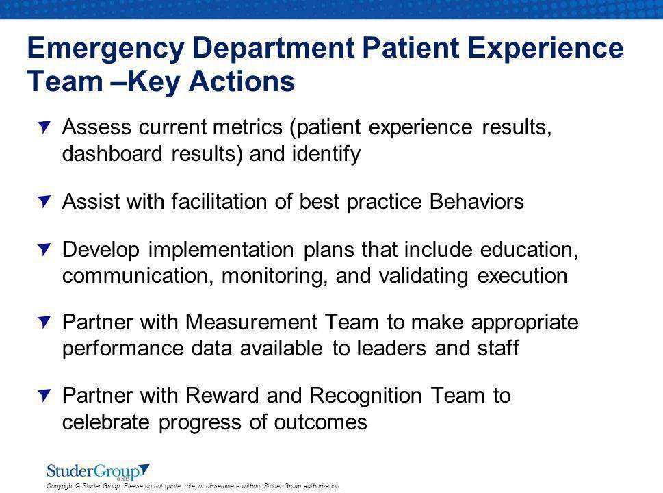 Emergency Department Patient Experience Team –Key Actions