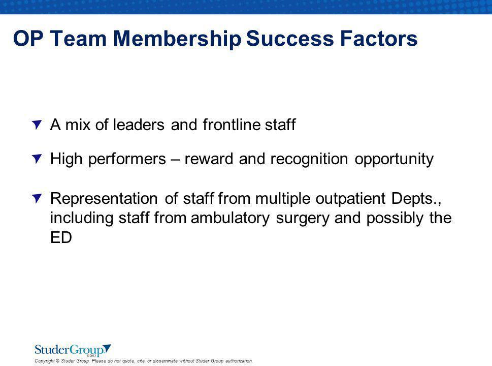 OP Team Membership Success Factors