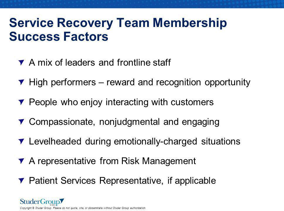 Service Recovery Team Membership Success Factors