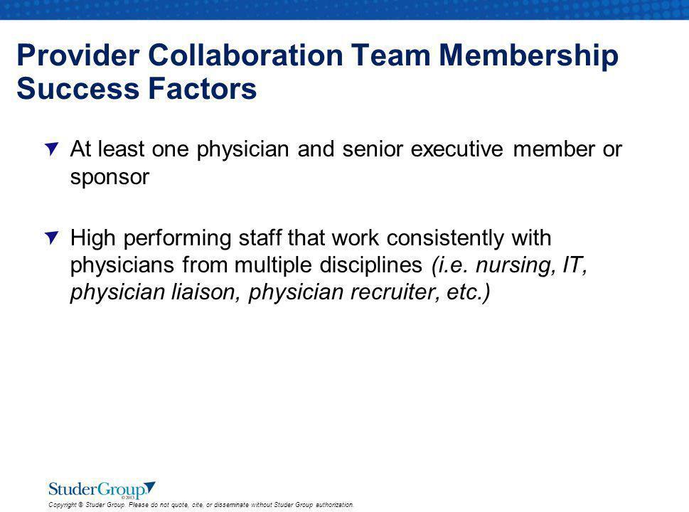 Provider Collaboration Team Membership Success Factors
