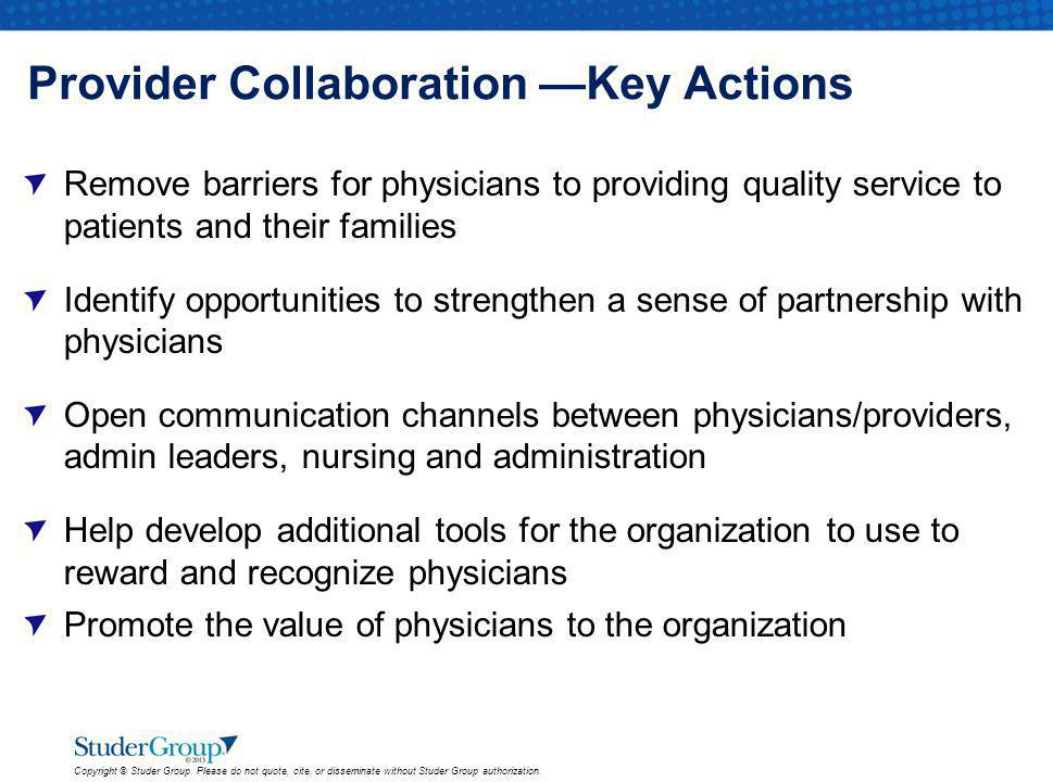 Provider Collaboration —Key Actions