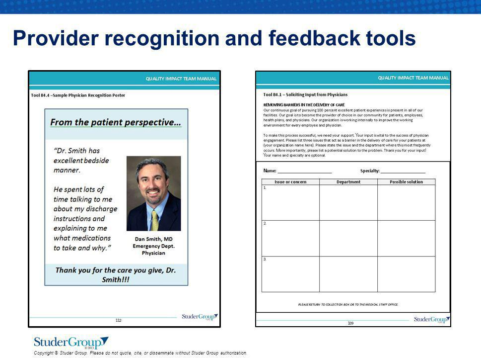 Provider recognition and feedback tools