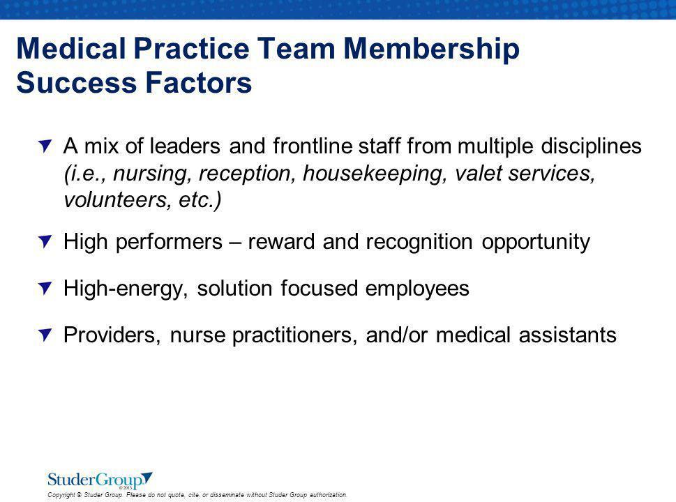 Medical Practice Team Membership Success Factors