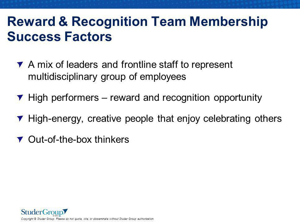 Reward & Recognition Team Membership Success Factors