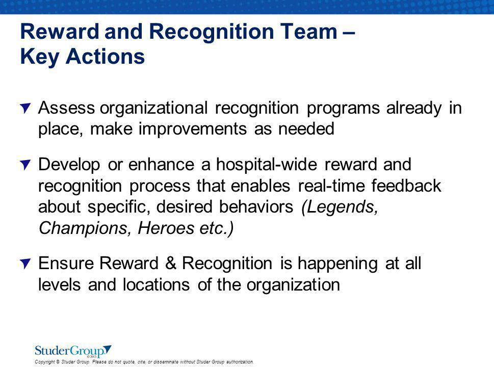 Reward and Recognition Team – Key Actions